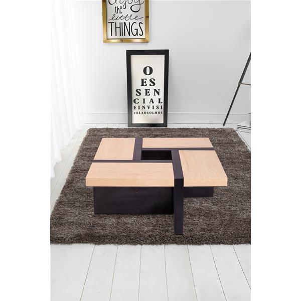 Tavolino basso tavolino sala legno beige marrone scuro for Tavolino salotto nero