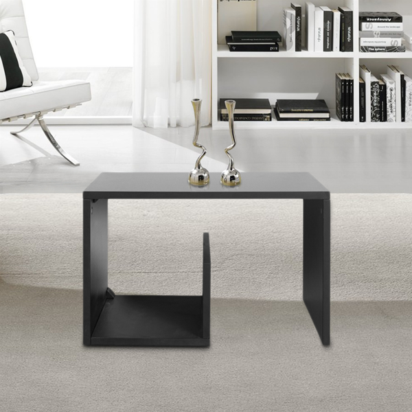 Tavolino da salotto legno nero cubo arredamento moderno for Tavolino salotto nero