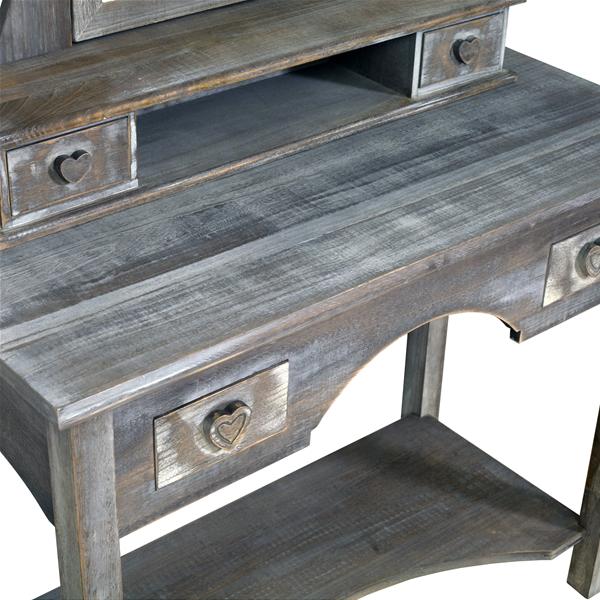 Toeletta specchiera beige legno shabby 4 cassetti pomelli for Paulownia legno mobili