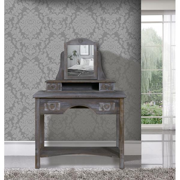 toeletta specchiera beige legno shabby 4 cassetti pomelli