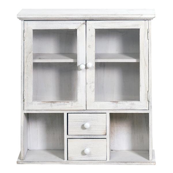Vetrinetta muro bianco 2 cassetti shabby chic stile rustico cucina ingresso ebay - Mobili stile rustico ...