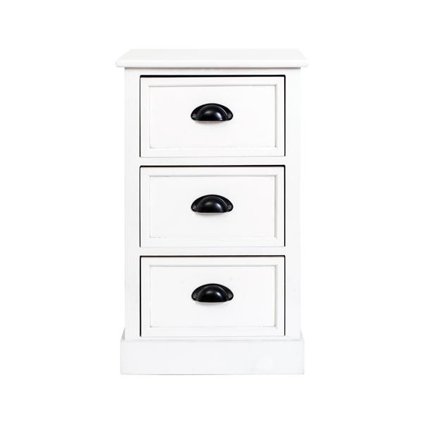 Mobili rebecca comodino mobile 3 cassetti legno bianco for Arredamento in saldo