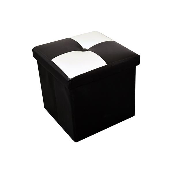 Pouf Coffre de Rangement Carre Synthétique Blanc Noir Contemporain Salon  Chambre d3e581efde72