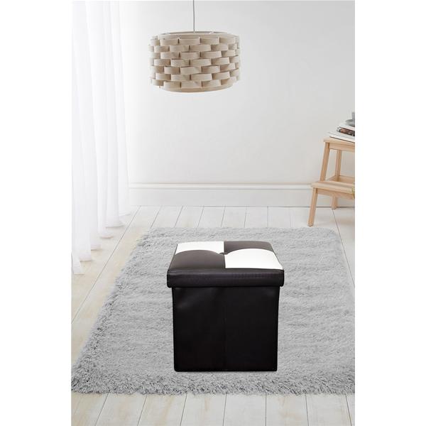 Pouf Coffre de Rangement Carre Synthétique Blanc Noir Contemporain Salon  Chambre 71e4f917f7df